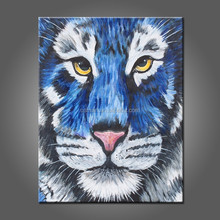 High Quality Handmade Unique Animals Abstract Blue Tiger Oil Painting On Canvas Tiger Painting For Hotel Decoration