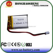 Small 502535 recharegable li-polymer battery 400mah 3.7v