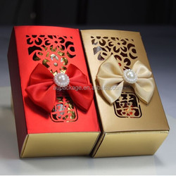 2015 new design sweet wedding box with bowknot