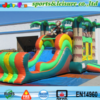 china inflatable bouncy castle tropical theme with slide