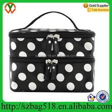 Black with White Dot Travel Folding Men Custom Cosmetic Bag