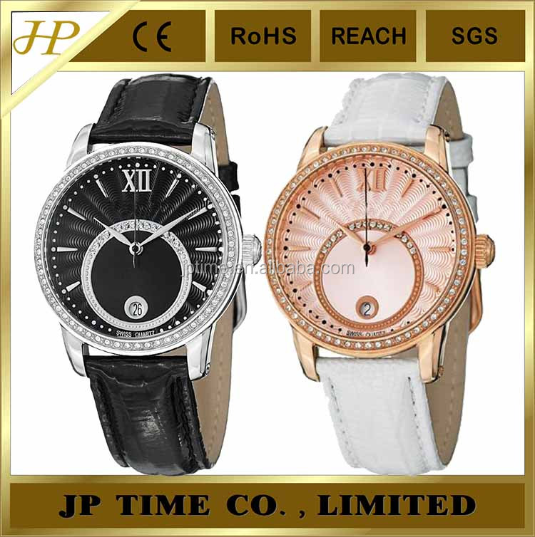 fashion style Unique Design leather strap CZ stone dial face vogue Watch 2014