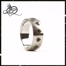 Stainless Steel Men's Brushed Poker Card Suits Ring