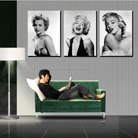 2015 New Promotion freeshipping 3 panel moderm romantic home canvas decoration combinative marilyn monroe picture wall hunging
