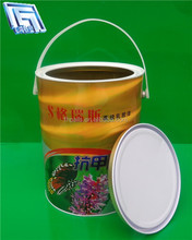 5L custom round tin bucket/container for paint