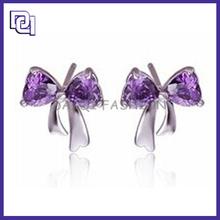 Factory Direct Earring Stud,925 Silver Diamond Earrings With Bowknot Shape,Diamond Dust Earrings For Pretty Girls