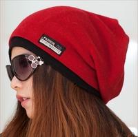 winter reversible beanie men hat womens hats,snow caps knit hat skull chunky baggy warm skullies