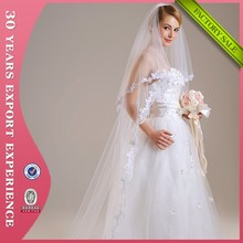 2015 Bridal Accessories Two-Layers Appliqed Edged White Long Lace Wedding Veil