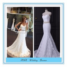 Suzhou Wedding dress Real photos white Lace Applique beach wedding gowns Sash bridal wedding dresses 2015(WEDS-1088)