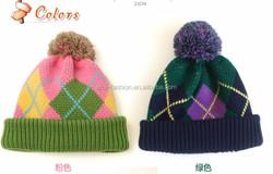 2015 winter fashion argyle pattern children knitted hat and scarf set