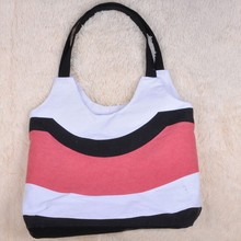 Cheap striped pattern hobo canvas shopping bag have stock