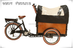 CE Danish bakfiets family 3 wheel electric van cargo tricycle with cabin box for sale