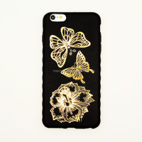 2015 Gold shiny butterfly and flower diy mobile phone pear sticker, cell phone case sticker, cell phone jewelry sticker