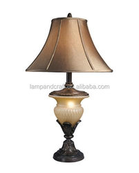 CE Hot selling antique style home goods table lamps with round base and silk empire shade