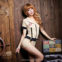 Khaki woman Sex hot police costume for Girls Sexy Cop Leotard Costumes