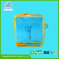 soft loop pvc bikini bag, transparent PVC zip top garment packaging bags, plastic garment case SHWK2968