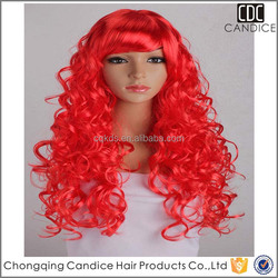 Amazing Party Wig Time Use Bright Red Lace Syntheic Wig Human Hair Wig Synthetic