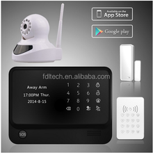 2015 newest smart home alarm WIFI+GSM home alarm system download Android / IOS APP & home burglar alarm system with IP camera