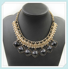 Cheap wholesale chunky statement necklace, black beads gold choker statement necklace