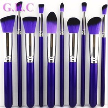 free sample 10 pcs powder brush synthetic kabuki makeup brush set