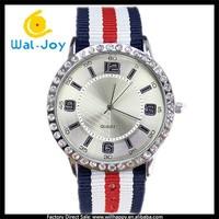 WJ-5111 wholesale silvery &gold case nice cheap nylon woven band thin wrist watch