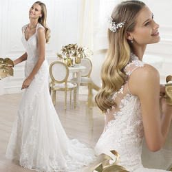 French lace backless perspective flowers V neck small trailing fishtail Princess wedding dress