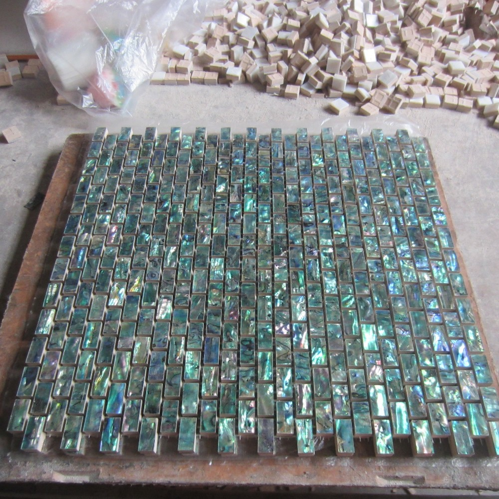 2017 green abalone shell mosaic tile on mesh with ceramic for Installing glass tile with mesh back