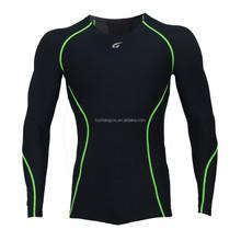 Men's Compression Base Layer Long Sleeve Shirts Skin Tight Black