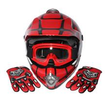 Youth Red Spider Net Dirt Bike Motocross Off-Road Helmet MX Goggles+Gloves S M L