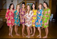 Brides Wedding For Wholesales Women Cheaper Bouquet Printed Silk Bridesmail Kimono robes