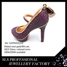Ruby cubic zirconia jewelry micropaved hip-hop shoe pendant rose gold plated fashion jewelry silver high heel shoe pendant