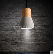 European style light E27 concrete lampshade with wood light pendant light