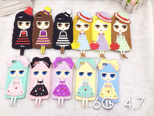 phone case Cute girls 3d silicone cover case for iphone case 4s 5s 6 plus