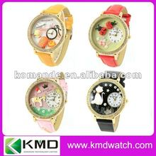 Colorful red/yellow/pink/black/blue lady watch with 3D cartoon fairy tale characters