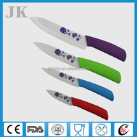 Promotional Zirconia 5pcs colored ceramic knife set with arcylic stand