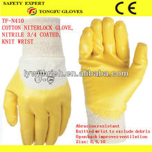 Cotton interlock lining yellow nitrile half coated safety gloves/nitrile working gloves