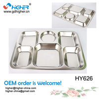 Hot sale cheap school stainless steel 3/4/5/6/7-parts food plates,dinner plate