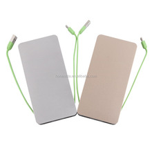 2015 popular Aluminum Universal emergency 8400mAh mobile chargers with dual usb power bank and 2 built-in cables(TJ709)