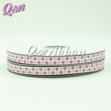 3/8inch pink gray grosgrain glitter ribbon