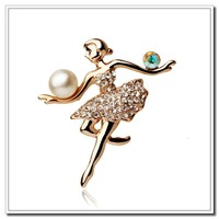 2015 Newest High-grade Austria Crystal and Pearl Dancing Girl Brooches Jewelry, Fashion Shawl Brooches, Women's Brooches