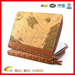 Hot Selling Fashion Design Leahter Case for Macbook Air, Map Protective File Holder with Zipper