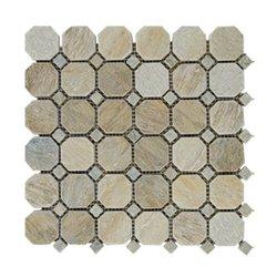 beige slate Octagon Dot 12 x 12 in Mosaic tiles