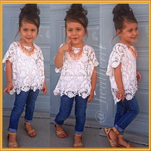 Denim Shorts Outfits set,boutique clothing kids summer wear set, 2015 kids lace hallow out waistcoat