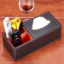 Home Offfice Wooden Struction Leather Multi-function Desk Stationery Organizer Storage Box
