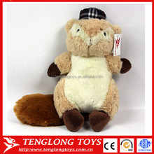 welcomed chubby plush squirrel with a hat