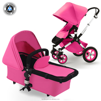 New Design High Quality Fuschia Color Baby Pram with EN1888 Certification by Land Leopard Brand Detachable Pram