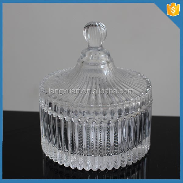 hebei ribbed decorative glass candle jars with lids. Black Bedroom Furniture Sets. Home Design Ideas