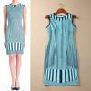 2015 fresh pop stripes round collar sleeveless slim fit dresses