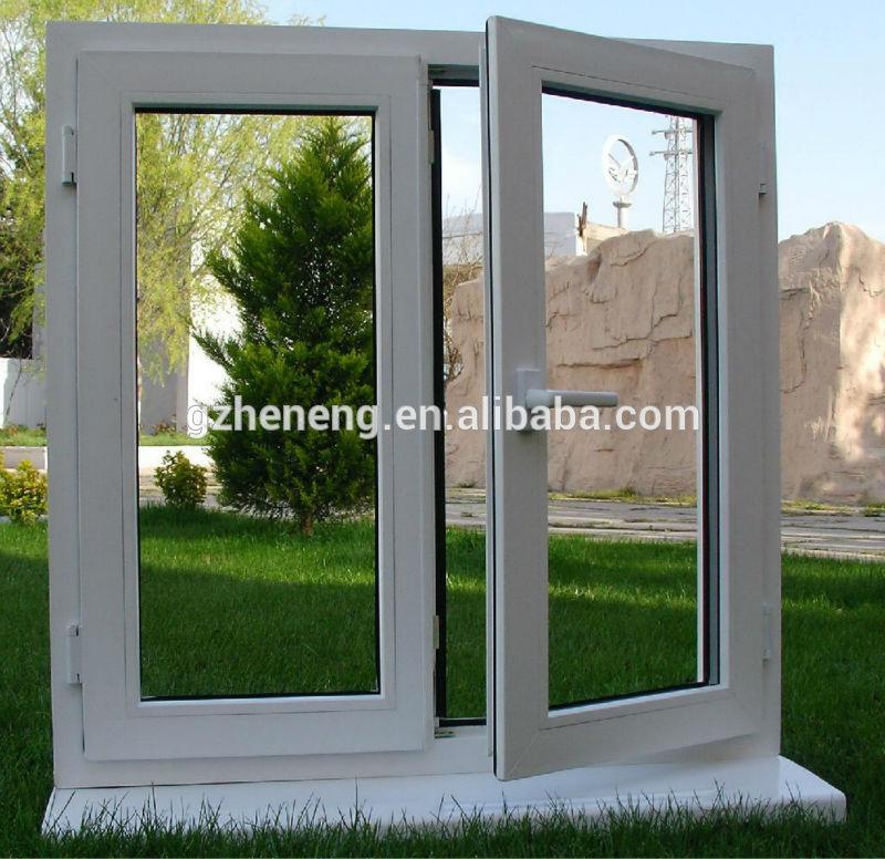 Guangzhou pvc ventana abatible blanco vidrio doble for Ventanas doble vidrio