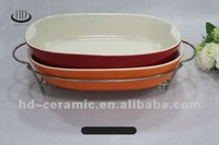 ceramic casserole with iron stand